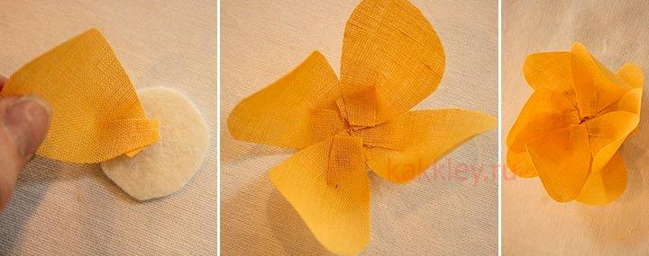 Как делать цветы из кусочков ткани