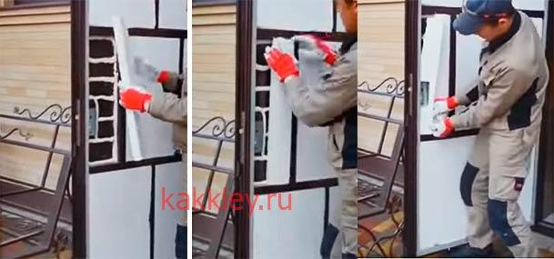 Как клеить пеноласт на дверь