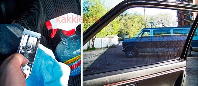 Как очистить стекла авто от клея после тонировки