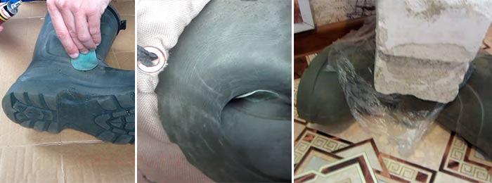 Починка рыбацких сапог из Эва материала