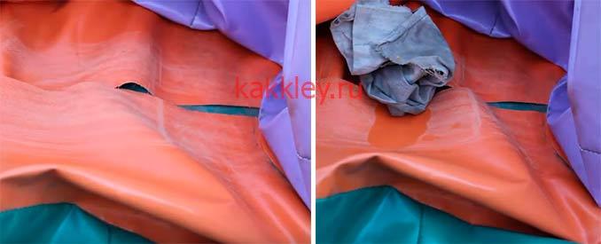 Поэтапный процесс установки латки на батут