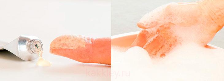 Чем снять с кожи клей Момент
