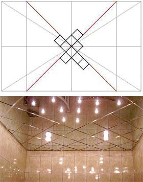 Как клеить потолочную плитку ромбом