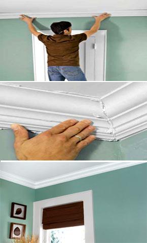 Как клеить молдинги на потолок