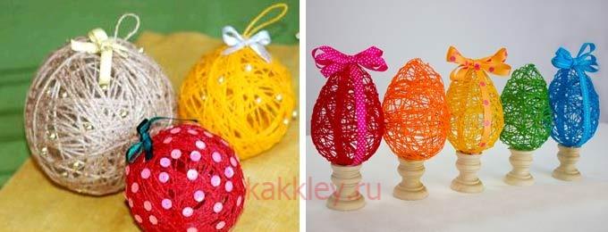 Игрушки из клея и ниток