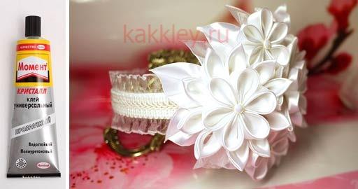 Ободок с цветком канзаши