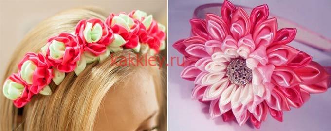 Ободкок в плетении канзаши с цветами