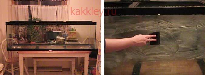 Поэтапное прикрепление заднего фона в аквариум