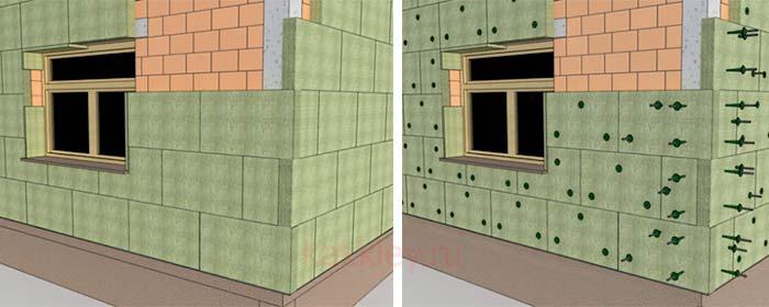 Как наносить клей на минеральную вату