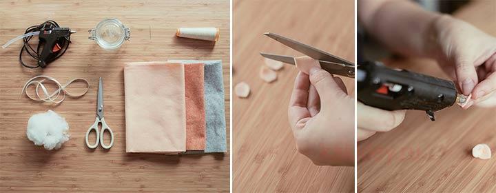 Пошагово склеиваем фетровую ткань
