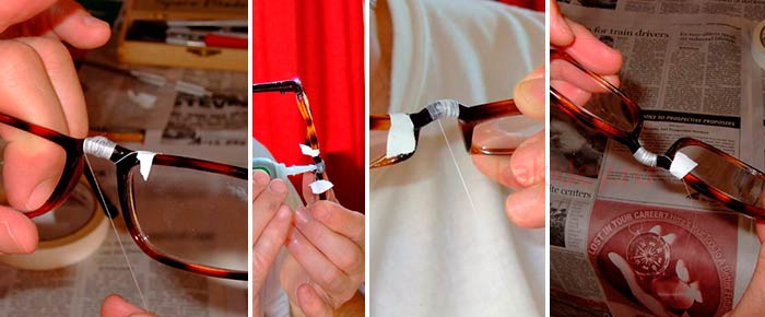 Склеить и сшить сломанные очки