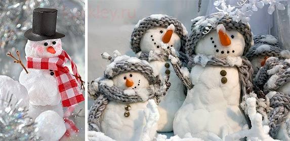 Снеговик из ваты и клея