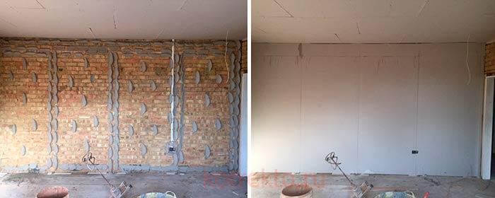 Бескаркасный метод укладки гипрочных плит на стену