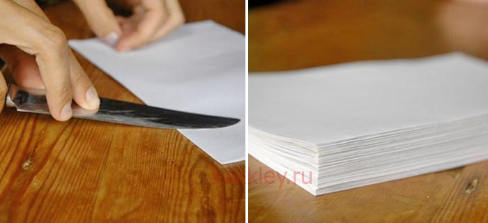 Как склеить блокнот из сложенных пополам листов А4