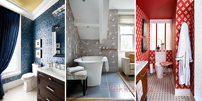 Оклейка ванной комнаты с окном обоями