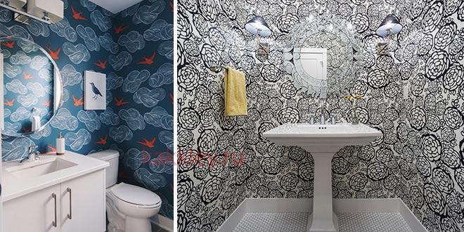 Примеры оклеки обоями ванной