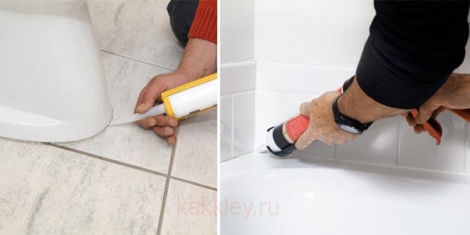 Промазываем швы в ванной силиконовым герметиком