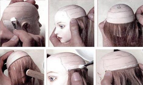 Как приклеить кукле прическу