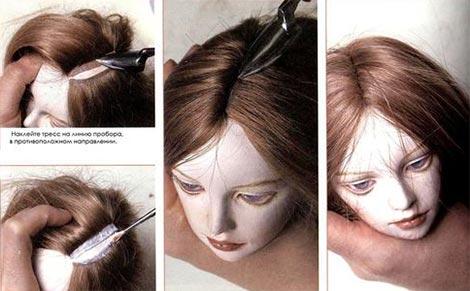 Формирование пробора на голове куклы