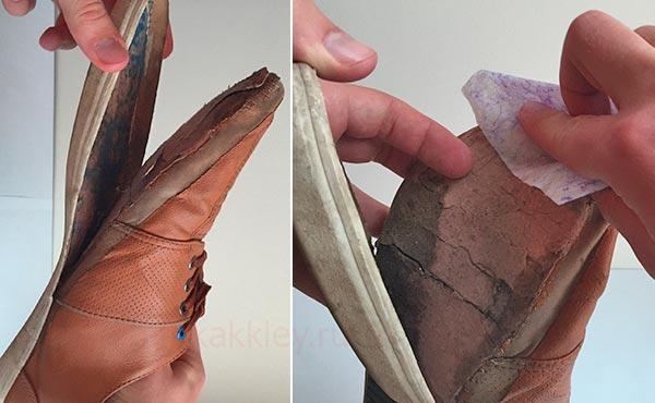 Как подклеить оторванную подошву