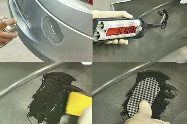 Склеивание трещины бампера с армированием