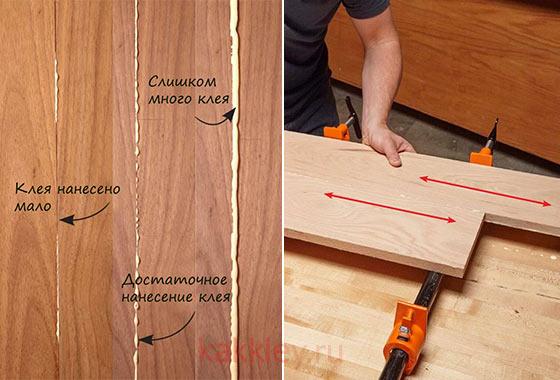 Как наносить клей на дерево