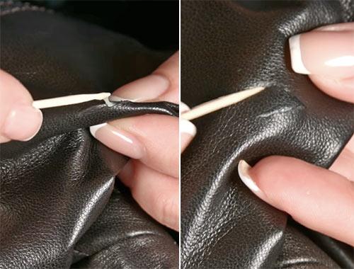 как незаметно убрать порез на кожаной куртке