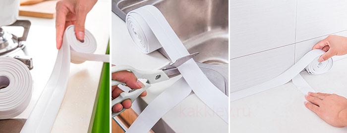 Как правильно приклеить бордюрную ленту на ванну