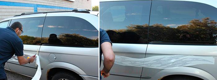 Поэтапный процесс приклеивания наклейки на авто
