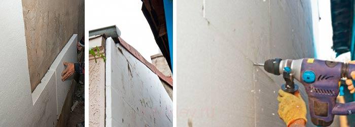Фиксация пеноплексовых панелей на наружных стенах