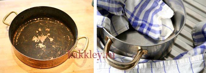 Чистка сковородок клеем и содой