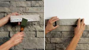 Как клеить камень на стену