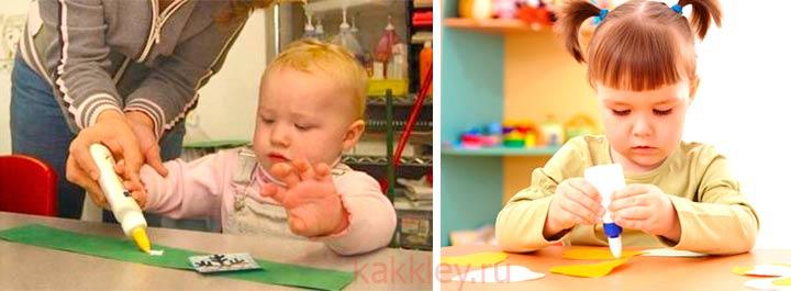 Как правильно детям работать с клеем