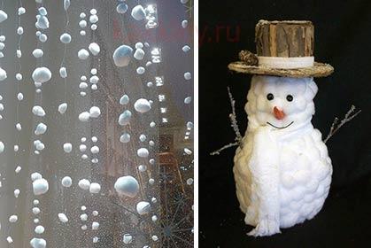 Новогодние поделки из клея и ваты