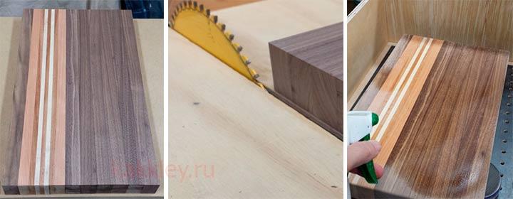 Подрезка склееного деревянного щита