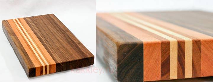Результат склейки цветных брусков древесины