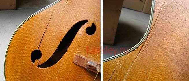 Как починить деку гитары