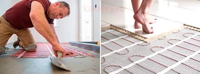 Инструкция как клеить плитку на теплый пол