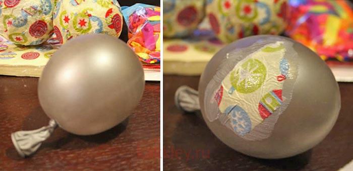 Инструкция как сделать елочный шарик папье-маше