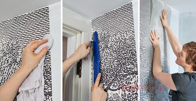 Правила оклейки стен в ванной обоями