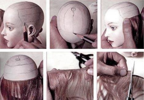 Как клеить волосы кукле