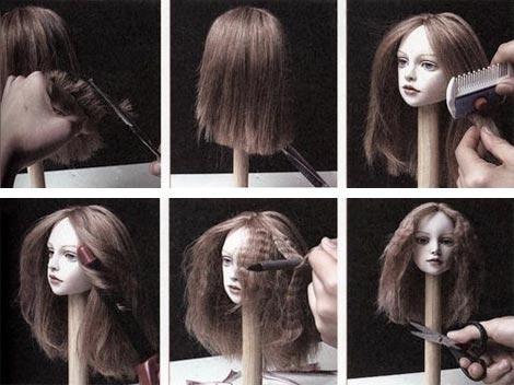Как клеить кукле прическу из трессов