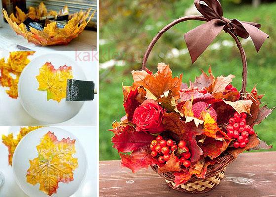 Склеить поделку из листьев горячим клеем